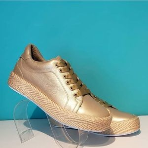 Gold Leather Sneakers w/ Woven Sole Detail